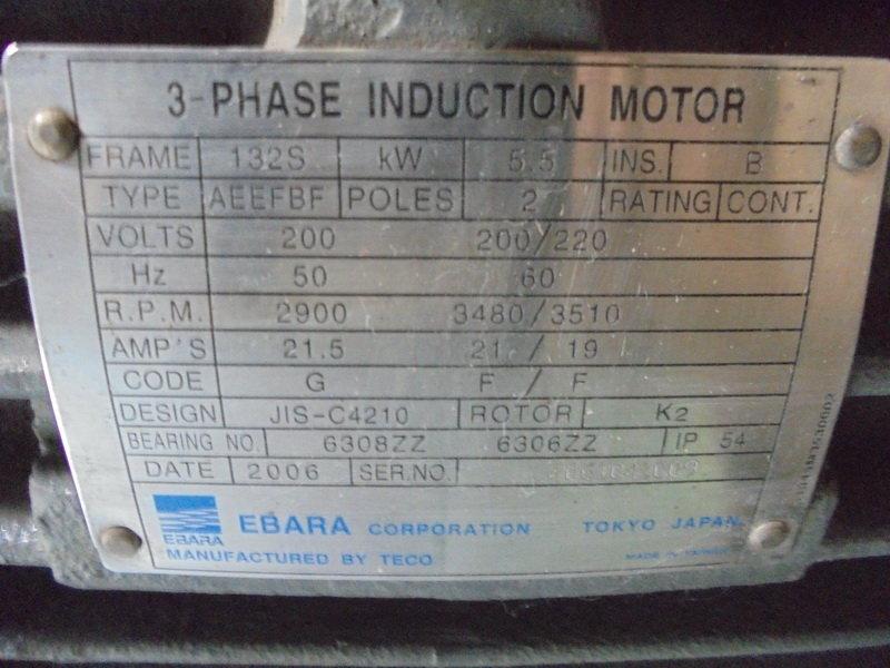 Ebara ebara 3 phase induction motor aeefbf yuyi global for 3 phase motor troubleshooting