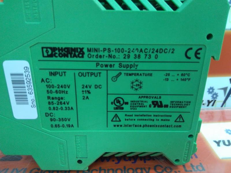 Phoenix Contact Mini-PS-100-240AC//24DC//2 Power Supply